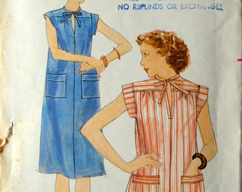 Uncut 1970s Butterick Vintage Sewing Pattern 4775, Size L; Misses' Dress and Top