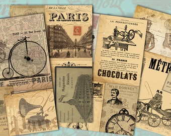 Victorian Collage - Steampunk Style - Digital Collage Sheet Download - 2 Sheets