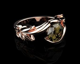 Rose Gold Smoky Quartz Engagement Ring Brown Gemstone Ring Smoky Quartz Engagement Ring Brown Gemstone Engagement Ring Smokey Topaz Ring