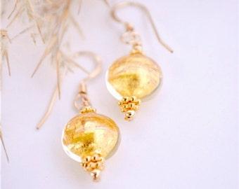 Murano Glass Earrings | Gold Earrings | Venetian Glass Earrings | Gold Foil Earrings | 24K Gold Encased | Murano Glass Jewelry
