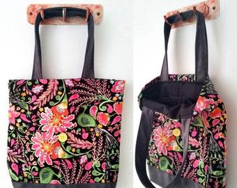 Tote bag, shoulder bag, vegan bag, Handbag, Beach Bag, summer bag, Everyday bag, canvas handbag, canvas tote, floral bag, colorful bag