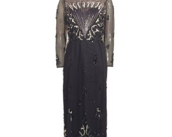 Rose Taft Sequin Evening Gown