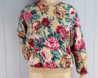 Vintage Womens 1990s Floral Fleece Sweatshirt | Size M/L