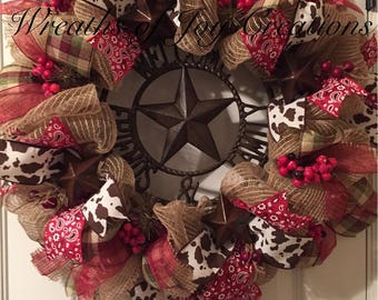 Welcome Friends & Family Western Wreath