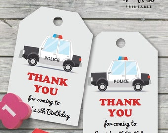 Police Car Thank You Tag |  Favour Tag | Gift Tag | Editable PDF File | Instant Download | Personalize at home with Adobe Reader