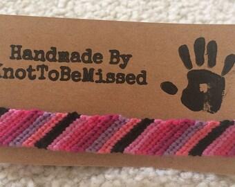 Handmade Pink and Black Friendship Bracelet
