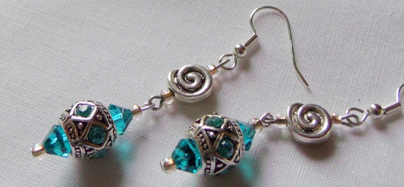 Aqua austrian crystal silver bead earrings, swirl design , long dangle unique jewelry , summer and vacation wear, resort, ocean inspired