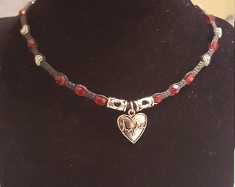 Heart choker necklace, heart necklace for nurses, macrame heart choker, beaded heart necklace, silver pewter choker, nursing heart necklace