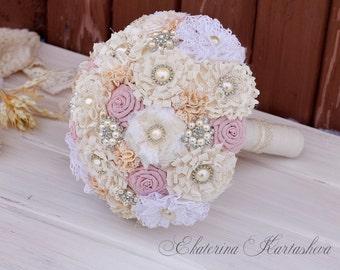 burlap bouquet brooch bouquet rustic bouquet vintage bouquet shabby chic broach wedding fabric bouquet bridesmaid bouquet pink blush bouquet