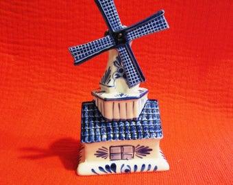 Delft Blue Coin Piggy Bank Windmill Money Box