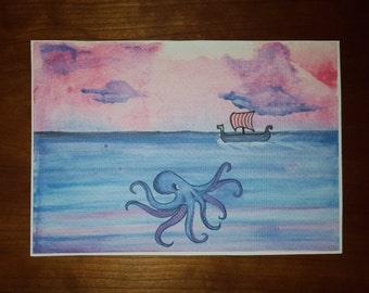Viking Trouble - Watercolor Print