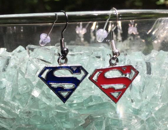Superman Antique Silver Enameled Drop and Dangle Earrings, 2 color choice