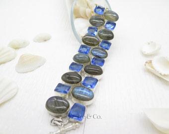 Rainbow Labradorite and Blue Topaz Sterling Silver Bracelet