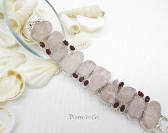 Pink Agate Drusy and Garnet Sterling Silver Bracelet