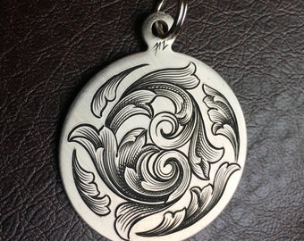Hand Engraved Swirling Scroll Design Nickel Silver Pendant