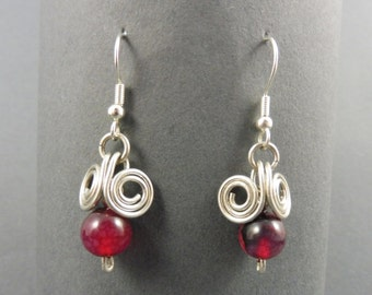 """Silver Wire Earrings with Red Agate - """"Danglies"""""""