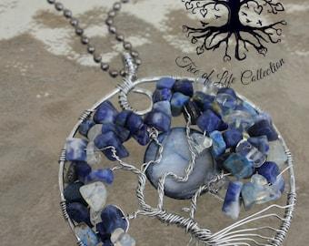 Tree Of Life Pendant, BLUE MOON, Tree of Life Jewelry, Wire Tree Pendant