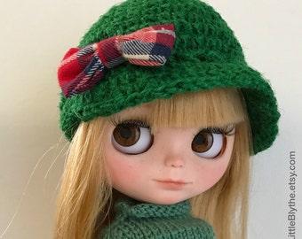 GREEN HAT for Blythe doll, sombrero para muñeca, cappello per bambola