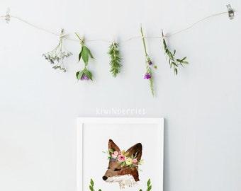 Woodland nursery - Woodland decor - Boho fox art print - Nursery wall art - Flower crown - Watercolor illustration - Printable art gift