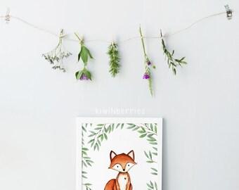 Watercolor fox print - Watercolor wall art - Nursery boy or girl - Nursery wall art - Woodland nursery decor - Printable nursery art