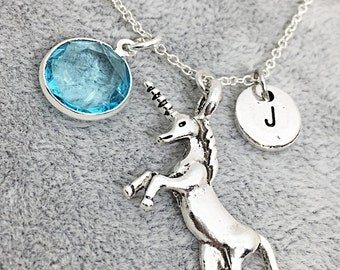 Best Friend Necklace, Unicorn Necklace Gift, Gift for Best Friend, Sterling Friendship Jewelry, Birthstone Initial Necklace, Silver Unicorn