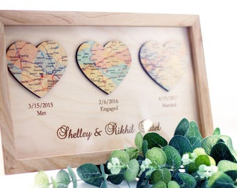 Met Engaged Married Personalized Framed Map Love Story Engagement Personalized Map Heart Art Wedding gift for Couples Engagement Gift idea