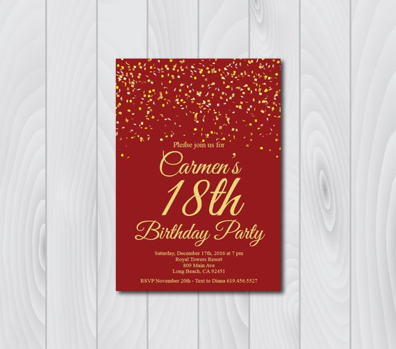 18th Birthday Invitation Printable Gold Amp Red Birthday