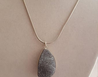 Druzy Gray/Smoky Pendant on Sterling Chain