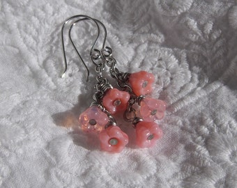 Pink Bell Flowers -  surgical steel earrings with Czech pink glass bells