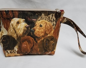 Dogs All Over Quilted Wristlet