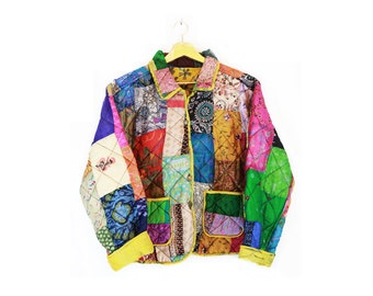 Vintage 80s/90s Silk Quilted Patchwork Reversible Jacket S/M