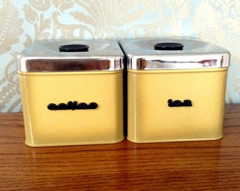 Stackable Vintage Coffee and Tea Canisters, chrome yellow tin avocado tone set of two 1960s