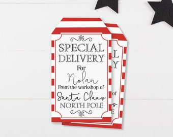 Printable Santa Gift Tags - From Santa Tags - Holiday Gift Tags For Kids - DIY Christmas Gift Tags - Special Delivery From North Pole