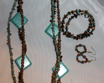 Brown and Turquoise jewelry set (Necklace, Bracelet, and Earrings)