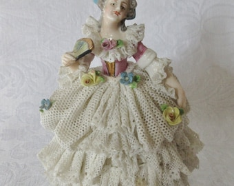Vintage German, Dresden Style, Lady Figurine; Vintage Porcelain Figurine with Lace Skirt