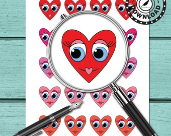80% OFF SALE Kawaii Valentine Hearts Clipart, Digital Clip Art | Download Printable Digital Planner Stickers (nb23)