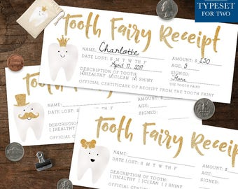 Tooth Fairy Receipt - Tooth Fairy Certificate - 9 Different Designs - Tooth Fairy Accessories - Lost Tooth - Gold - Instant Download