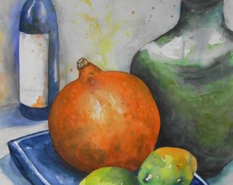 Watercolor watercolor painting painting still life original kitchen picture pumpkin lemons