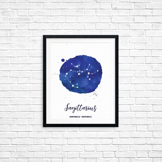 Printable Art, Sagittarius, November 22 - December 21, Constellation, Zodiac Symbol Art, Art Printable, Home Decor, Digital Download Print