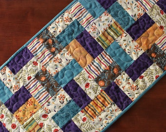Quilted Fall Table Runner, Teal Fall Table Runner, Perfectly Seasoned, Fall Table Topper, Teal Purple Brown, Thanksgiving Decor, Handmade