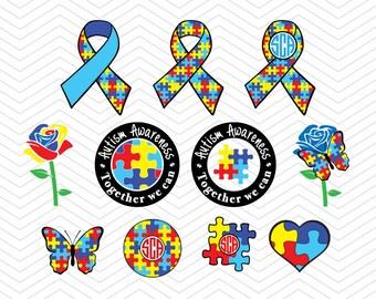 Autism Awareness Monograms SVG DXF EPS png Hope cut Cricut Design, Silhouette studio, Sure Cuts Lot, Make the cut instant Download