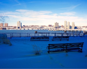 New York Photography, Blue Wall Art, NYC Print, New York Cityscape, Large Wall Art, Benches, River View, Winter Photo - Snowy Hudson River