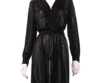 Very Elegant Sheer Black Tricosa Wraparound Dress