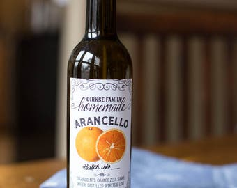 Customized Label - Arancello, Orange Liqueur, Homemade Grand Marnier, Homemade Triple Sec - Label for Your Homemade Liqueurs