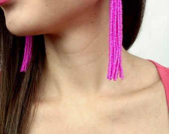 Hot pink tassel earrings, Oscar de la renta tassel earrings, beaded tassel earrings beaded, extra long tassel earrings, large earrings