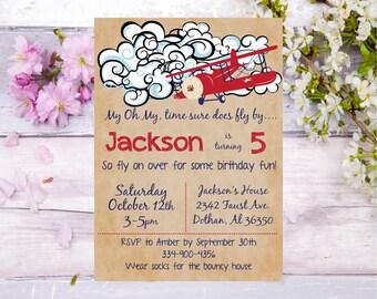 Airplane birthday invitation airplane birthday party transportation invitation flying birthday party pilot invitation birthday invite