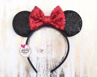 Minnie Mouse ears, Minnie Mouse headband, Minnie ears, Minnie mouse Birthday outfit, Minnie mouse birthday, Kids Minnie Mouse ears headband
