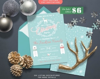 Self-Editing Christmas Party Invitation-Christmas Dinner Invite-Printable Holiday Party Invitation-Winter Party-Holiday Dinner Invitation