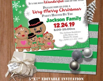 Self-Editing Christmas Party Invitation-Ginger Bread Invitation-Christmas Dinner Invite-Printable Holiday Party-Winter Wonderland Party
