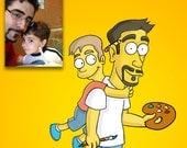 Simpsons Avatar, Simpsons Portraits, Simpsons Custom, Cartoon Portrait, Couple Portrait, Family Portrait, Birthday Gift